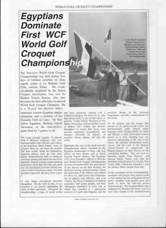 1996 Golf Croquet World Championship – Winner: Khaled Younis (EGY)